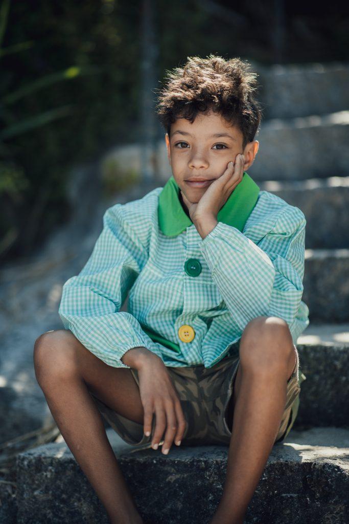 Babi escolar niño azul - mandilón escolar, infantil y preescolar